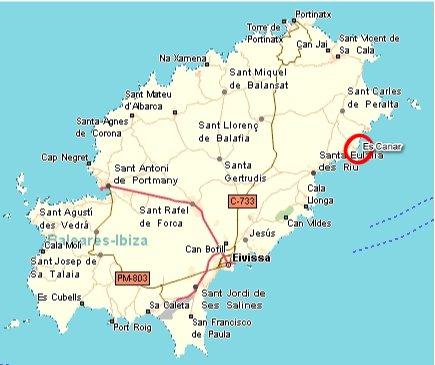 Es cana op de kaart van Ibiza