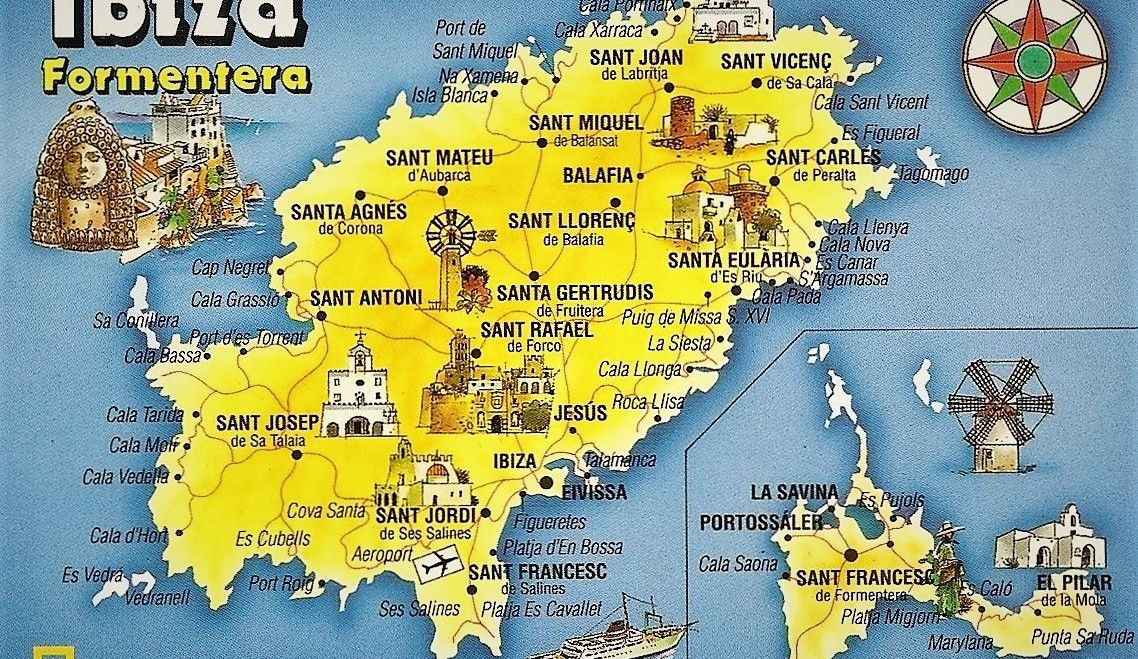 Volledige kaart Ibiza